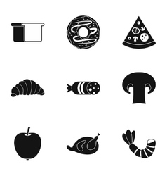 Food in morning icons set simple style vector