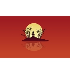 On island pavilion scenery silhouettes vector