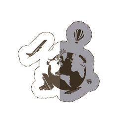 Monochrome silhouette sticker of world with means vector