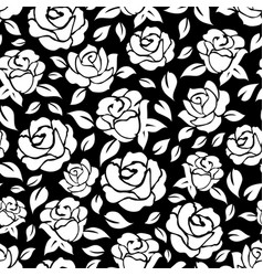 Roses seamless pattern on black backdrop vector