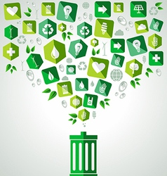 Green splash recycle bin vector
