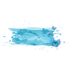 Watercolor imitation color splash with blue vector