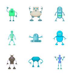 Robots assistants set cartoon style vector