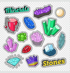 Gems stickers badges and patches jewelry stones vector