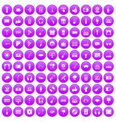 100 karaoke icons set purple vector