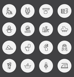 Set of 16 editable cleaning outline icons vector