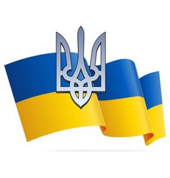 Ukrainian flag and chrome coat of arms vector