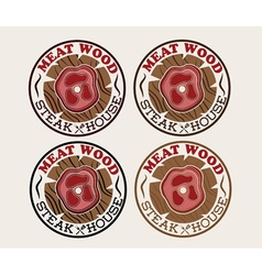 Meat wood emblems set vector