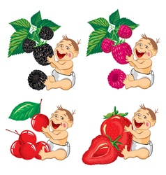Smiling baby with a berries vector