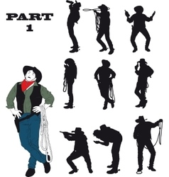 Silhouettes of cowboy vector