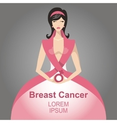 Breast cancer awarenessbeautiful woman portrait vector