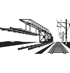 Construction of railway track vector