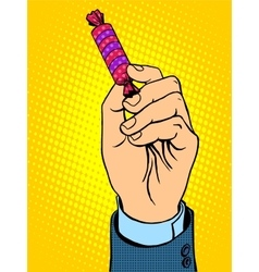 Candy in hand vector