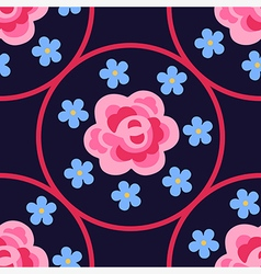 Pink flat rose forget-me-not vector
