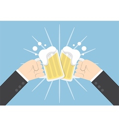 Two businessman hands toasting glasses of beer vector