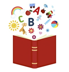 Open book with childrens icons vector