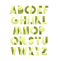 Retro font in green green alphabet realistic vector