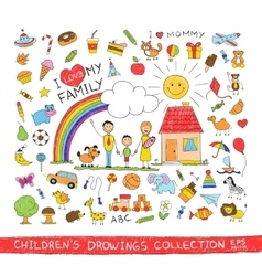 Child hand drawing of happy family vector image