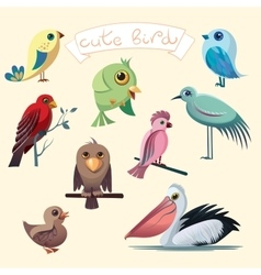 Cartoon collection with funny little birds vector