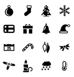 black christmas icon set vector image