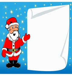 background with Santa Claus and paper for messages vector image vector image