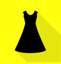 Beautiful long dress sign black icon with flat vector