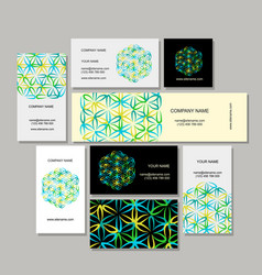 Business cards design flower of life vector