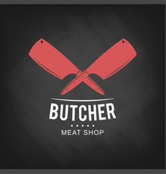 butcher meat shop logo design retro butcher shop vector image