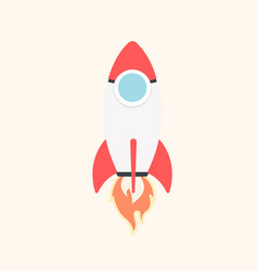 Cartoon rocket space ship take off isolated vector