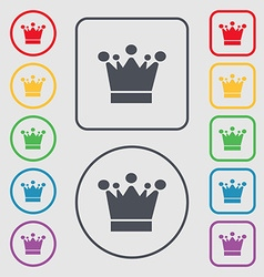 Crown icon sign symbols on the round and square vector