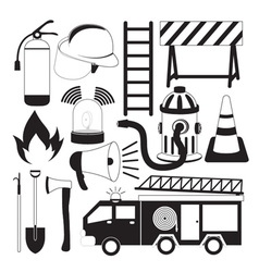 Firefighting Tools Icon Set vector image
