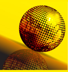 golden disco ball and reflection background vector image vector image
