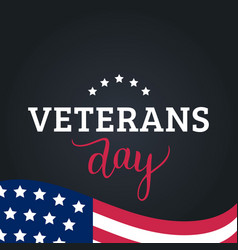 happy veterans day lettering with usa flag vector image