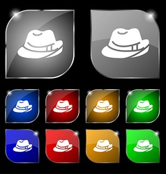 Hat icon sign set of ten colorful buttons with vector
