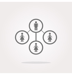 icon button with network of man inside vector image vector image