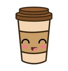 Kawaii cartoon coffee portable cup vector