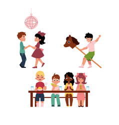 kids dancing eating and playing with stick horse vector image vector image