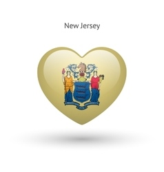 Love new jersey state symbol heart flag icon vector