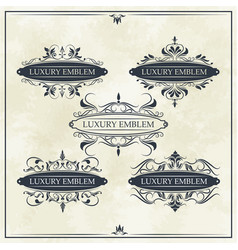 Luxury emblem set ornament decoration vintage vector