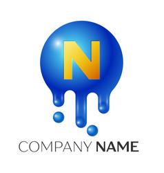 N letter splash logo blue dots and bubbles letter vector