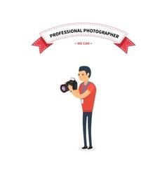 Professional Photographer Man Flat Design vector image