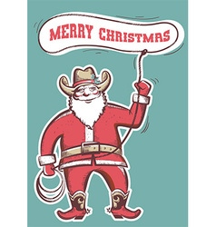 Santa claus in cowboy boots twirling a lasso with vector