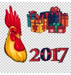 Set of design elements on New Year 2017 vector image