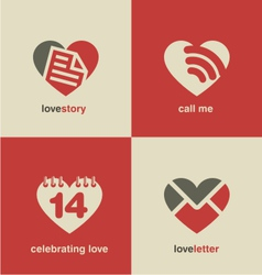 Set of heart shape icons and symbols vector image