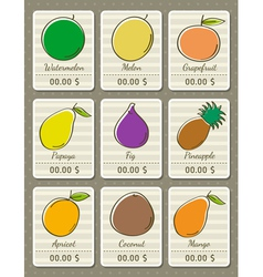 set of labels with organic fruits vector image