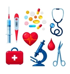 Set of medical icons isolated color flat vector