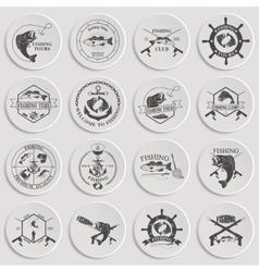 Set of vintage fishing labels badges and design vector