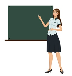 Teacher in front of chalkboard vector