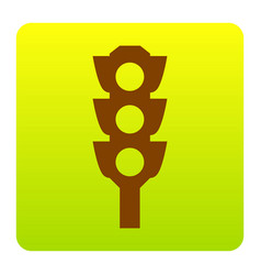 Traffic light sign brown icon at green vector