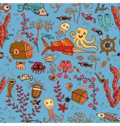 Underwater seamless pattern of sea life elements vector image vector image
